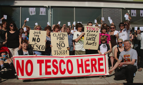 Local residents are protesting over plans for a Tesco on Lower Clapton Road