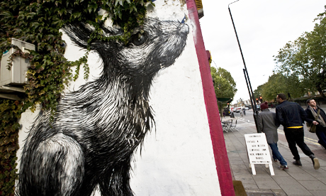 ROA's giant rabbit is 'a thing of beauty' according to Julia Craik, managing director of the Premises recording studio upon which it is painted. Photo:© Tim Sullivan