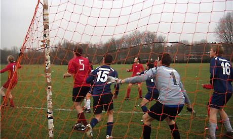 Local team, Recreativo Hackney FC (in maroon), in action on the Marshes