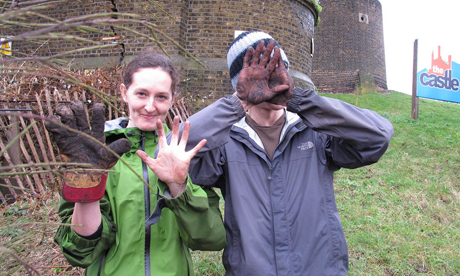 Zephyrine Craster and Oli Barker lend a hand or two at the Castle Climbing Centre, Stoke Newington.Photo:Susie Norris