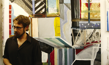 Hackney-based artist Francisco Ortega with one of his canvases