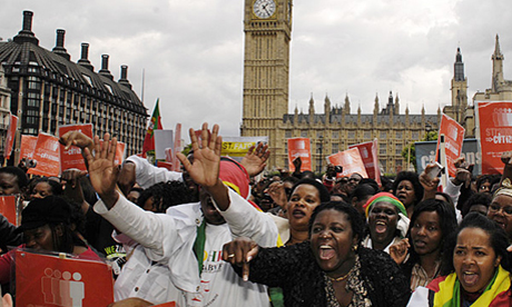 Calling for a migrants' amnesty - Strangers into Citizens rally at the Houses of Parliament