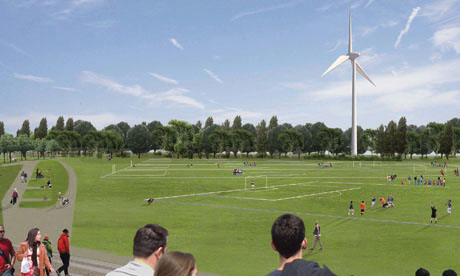 Artist's impression of the proposed wind turbine on Hackney Marshes