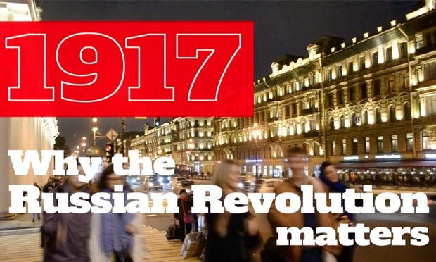 Revolution in the head: a title card from 1917: Why The Russian Revolution Matters. Photograph: WORLDwrite via Vimeo
