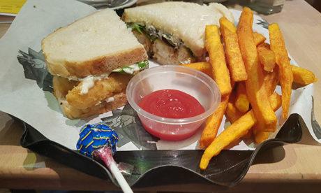 "The ""Po$h"" fish finger sandwich."