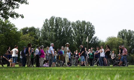 Supporters of Save Lea Marshes rally on Hackney Marshes earlier this month. Photograph: Eleonore de Bonneval