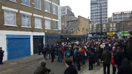 The scene outside LD50 Gallery early this afternoon. Photograph: Andrew Barnes