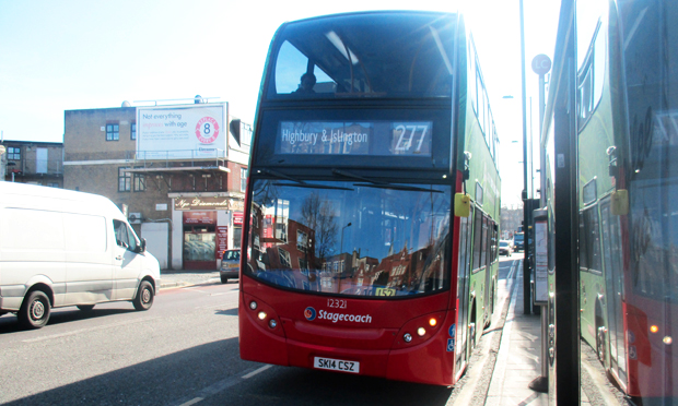 The 277 bus travels down Mare Street.