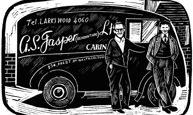 Man with a van: A.S. Jasper illustrated in happier times. Image: Spitalfields Life Books