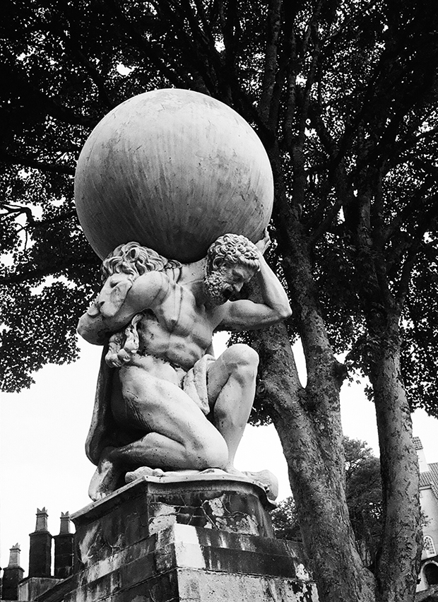 Statuesque: Atlas shoulders the weight of the world at Portmeirion, one of the featured places in the book. Photograph: Travis Elborough