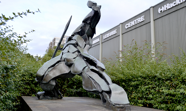 A sculpture outside the Britannia Leisure Centre