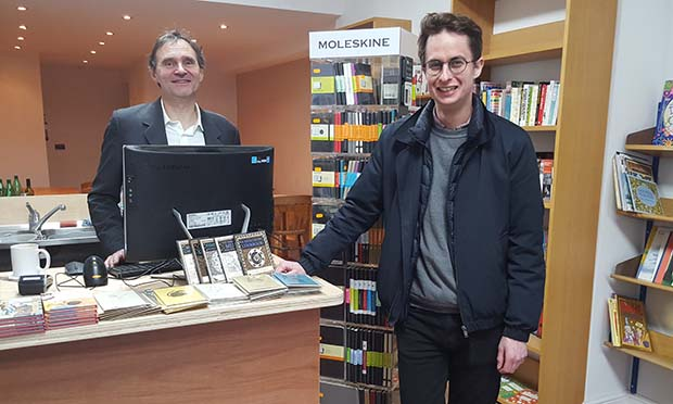 Bookish: Jason Burley and Sam Fisher in the new shop. Photograph: Burley Fisher Books