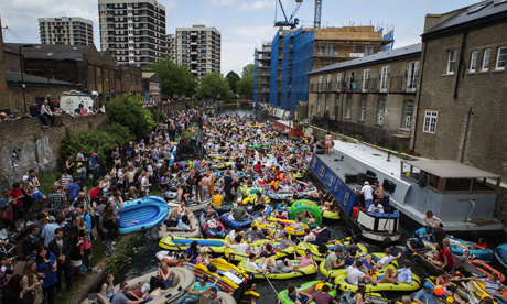 Revellers on canal