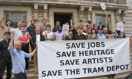 Clapton Tram Sheds demonstration outside Hackney Town Hall