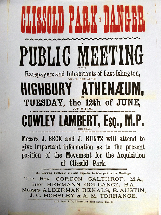 Clissold Park meeting poster