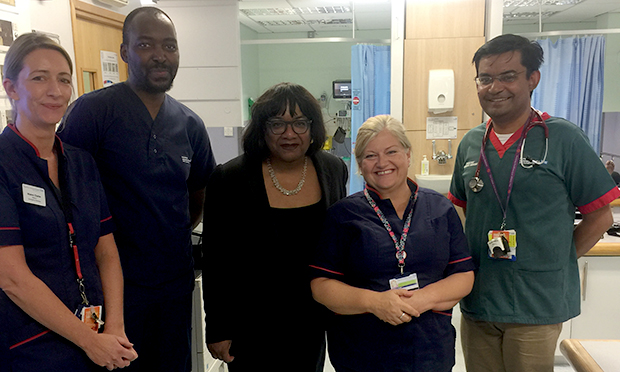 Diane Abbott with Homerton University Hospital chief nurse, Director of Governance, Head of Midwifery, Director, and the head of A&E