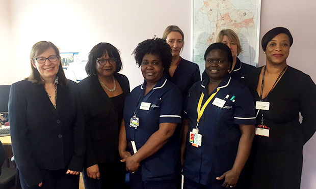 Diane Abbott with Homerton University Hospital staff