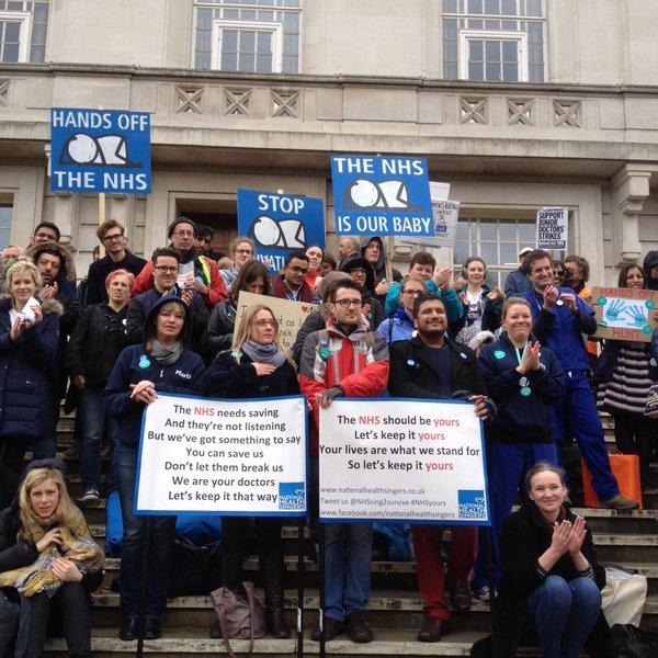 Doctors Strike - Hackney Town Hall - Credit Hugh Grant-Peterkin (Twitter)
