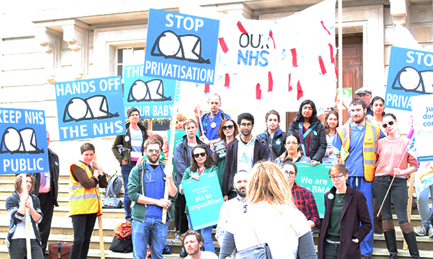 Doctors protest outside Hackney Town Hall on second day of strike action