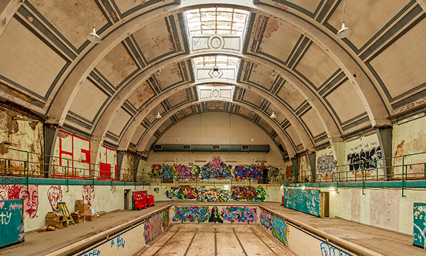Inside Haggerston Baths in 2015. Photograph: Simon Mooney