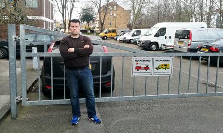 James MacDaid in front of blocked emergency gate