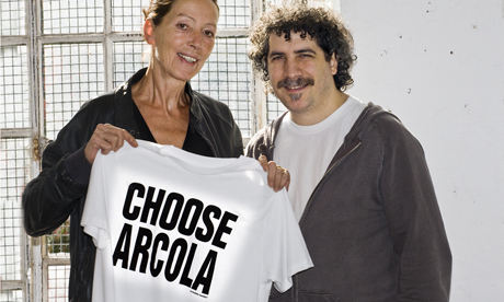 Fashion designer Katharine Hamnett with Arcola director Mehmet Ergen earlier this year