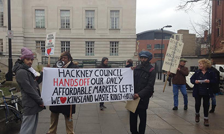 Traders protest outside the Town Hall. Photograph: Charlie Brinkhurst-Cuff