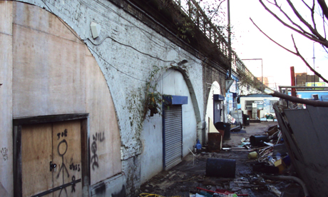 The Morning Lane arches prior to being converted into Hackney Walk retail units. Photograph: Benjamin Counsell