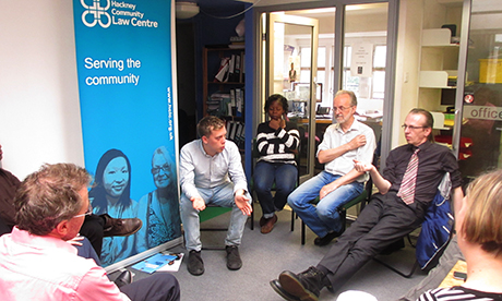 Owen Jones with the staff of Hackney Community Law Centre