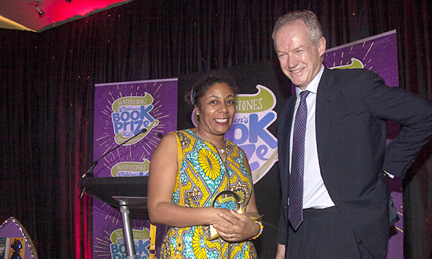 Patrice Lawrence picking up award from James Daunt
