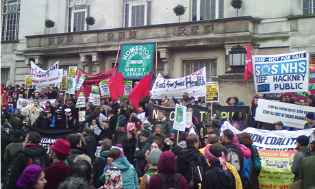 Protestors against the cuts outside Hackney Town Hall on Saturday, 19 February. Photo: Laurence Moor