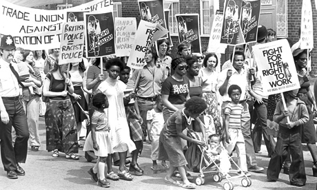 Protesters taking part in an event called March Against Police Brutality in 1976