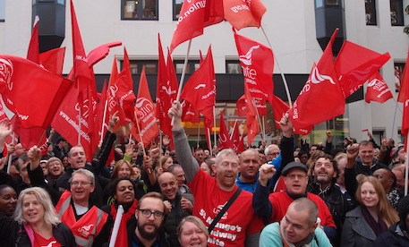 Celebratory rally: St Mungo's Broadway staff. Photograph: glenn McMahon