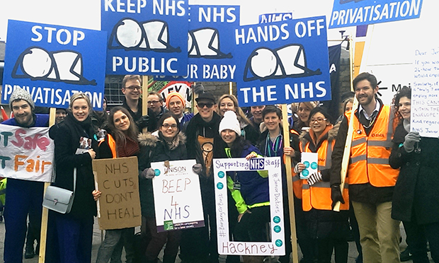 Artist Stik (centre) with protesters outside Homerton Hospital. Photograph: Hackney Citizen