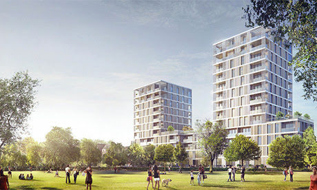 Artist's impression of the Tiger Way development on Hackney Downs