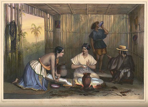 Las Tortilleras, one of the 50 plates in Carl Nebel's Voyage pittoresque et archéologique dans la partie la plus intéressante du Mexique