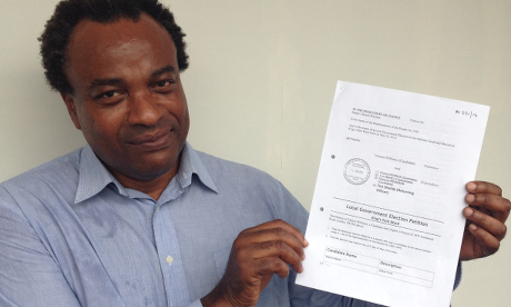 Mr Vernon Williams with his petition.