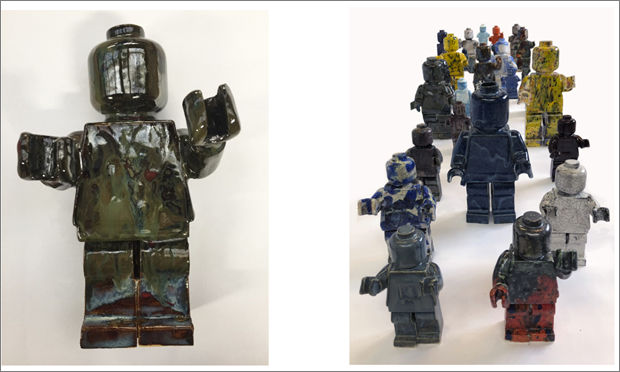 Ego Man Army by Nam Tran. Ceramic. Sizes vary. Prices begin at £250 for individual sculptures. Mint Art Gallery
