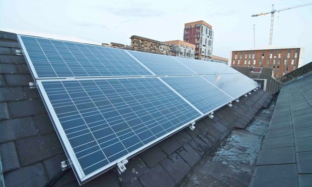 Solar panels sit atop Arcola's Ashwin Street space. Photograph: Arcola Theatre
