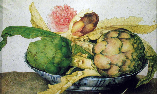 Detail from Giovanna Garzoni's Artichokes in a Chinese dish with rose and strawberries (c. 1650)