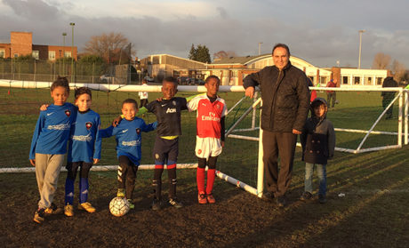 Amir Atefi with members of the U8s team who received the free McDonald's kit