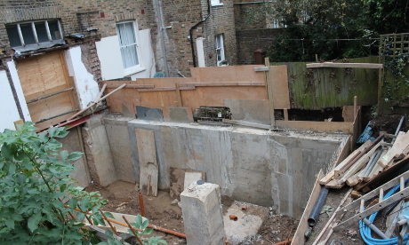 Gutted: the basement excavation at number 90. Photograph: Ella Jessel