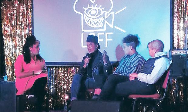 The panel in conversation. Photograph: Moema Meade