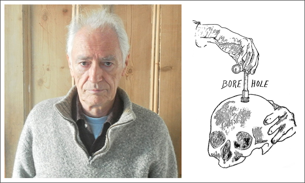 Hole-y Man: Joey Mellen and the cover of his psychedelic memoir, Bore Hole. Image: Joey Mellon / Strange Attractor