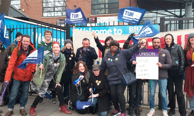 BSix teachers on the picket line. Photograph: Hackney NUT