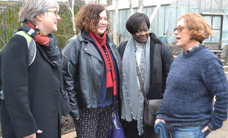 Assembly members Caroline Russell, Leonie Cooper and Jennette Arnold with Paula Yassime from St Mary's Secret Garden on a visit to the Homerton green space earlier this month