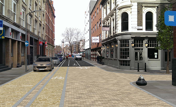 A CGI image of how one of the streets near Old Street could look under the project. Image: Hackney Council