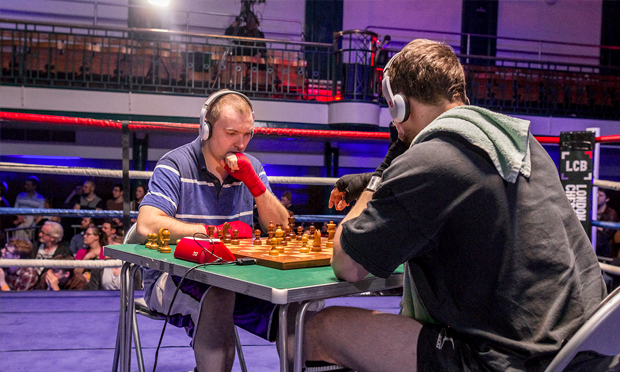 """I'm a decent chess player"" - Jonathan Arnott weighs up his next move. Photograph: London Chessboxing"