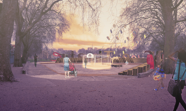 Pallet-able: a mock-up of how the Cine-Theatre will look. Photograph: studio aki for Appropri8