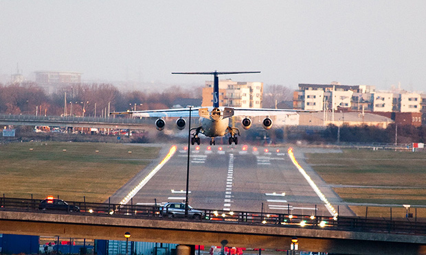 Bumpy ride?: A plane lands at London City Airport. Photograph: Matt Biddulph (Creative Commons)